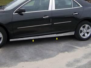 """QAA - Chevrolet Malibu 2013-2015, 4-door, Sedan (4 piece Stainless Steel Rocker Panel Trim, On the rocker 2.5"""" Width Installs below the door.) TH53106 QAA - Image 1"""