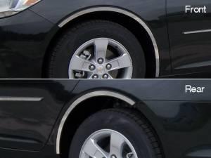 QAA - Chevrolet Malibu 2013-2015, 4-door, Sedan (4 piece Stainless Steel Wheel Well Accent Trim full length With 3M adhesive installation and black rubber gasket edging.) WQ53106 QAA - Image 1