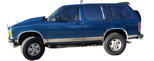 "QAA - Chevrolet S-10 Blazer 1993-1994, 2-door, SUV, w/ Flares (10 piece Stainless Steel Rocker Panel Trim, Full Kit 4.75"" Width Spans from the bottom of the molding to the bottom of the door.) TH33191 QAA - Image 2"
