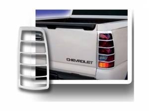 Chrome Trim - Tail Light Accents - QAA - Chevrolet Silverado 2003-2006, 2-door, 4-door, Pickup Truck (2 piece Chrome Plated ABS plastic Tail Light Bezels ) TL43182 QAA