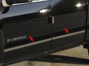 "Chrome Trim - More Trim Options - QAA - Chevrolet Silverado 2014-2018, 4-door, Pickup Truck, Crew Cab, Short Bed, NO Molding (4 piece Stainless Steel Body Molding Trim Kit 1.5"" Width ) MI54184 QAA"