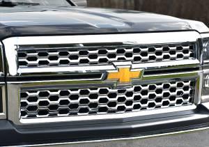 Chrome Trim - Grille Accents - QAA - Chevrolet Silverado 2014-2015, 2-door, 4-door, Pickup Truck, 1500, 1WT, 2WT, LT (2 piece Chrome Plated ABS plastic Grill Overlay Insert ) SGC54184 QAA