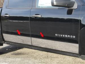 "QAA - Chevrolet Silverado 2014-2018, 4-door, Pickup Truck, Crew Cab, NO Factory Molding (4 piece Stainless Steel Rocker Panel Trim, Upper Kit 6+(0.875)"" Width, On the Doors Only Spans from the bottom of the molding DOWN to the specified width.) TH54184 QAA - Image 1"