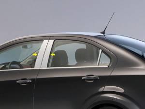 QAA - Chevrolet Sonic 2012-2020, 4-door, Sedan, Hatchback (4 piece Stainless Steel Pillar Post Trim ) PP53120 QAA - Image 1
