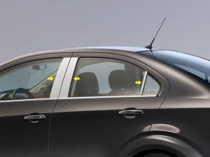 QAA - Chevrolet Sonic 2012-2020, 4-door, Sedan (6 piece Stainless Steel Pillar Post Trim ) PP53121 QAA - Image 1
