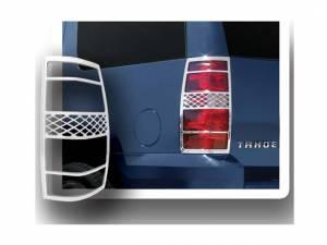 Chrome Trim - Tail Light Accents - QAA - Chevrolet Suburban 2007-2012, 4-door, SUV (2 piece Chrome Plated ABS plastic Tail Light Bezels ) TL47195 QAA
