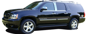"QAA - Chevrolet Suburban 2007-2014, 4-door, SUV (4 piece Stainless Steel Rocker Panel Trim, Lower Kit 1"" Width On the doors Only, spans from the bottom of the door UP to the specified width.) TH47197 QAA - Image 2"