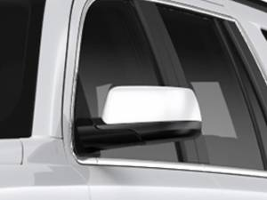 Chrome Trim - Mirror Covers/Accents - QAA - Chevrolet Tahoe 2015-2020, 4-door, SUV (2 piece Chrome Plated ABS plastic Mirror Cover Set Snap on replacement set ) MC55195 QAA