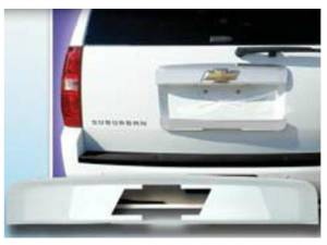 Chrome Trim - License Plate Accents - QAA - Chevrolet Tahoe 2007-2014, 4-door, SUV (1 piece Chrome Plated ABS plastic License Bar, Above plate accent Trim With Logo Cut Out ) LBP47196 QAA