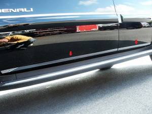 "QAA - Chevrolet Tahoe 2007-2014, 4-door, SUV (4 piece Stainless Steel Rocker Panel Trim, Lower Kit 1"" Width On the doors Only, spans from the bottom of the door UP to the specified width.) TH47196 QAA - Image 1"