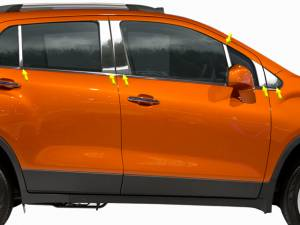 QAA - Chevrolet Trax 2015-2020, 4-door, SUV (12 piece Stainless Steel Pillar Post Trim Includes front pillar, front and rear triangles ) PP55157 QAA