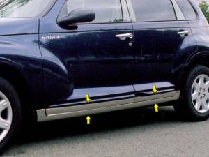 "QAA - Chrysler PT Cruiser 2001-2010, 4-door, Hatchback (8 piece Stainless Steel Rocker Panel Trim, Lower Kit 5"" Width Spans from the bottom of the door UP to the specified width.) TH41700 QAA - Image 1"