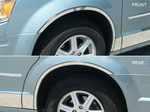 QAA - Chrysler Town & Country 2008-2016, 4-door, Minivan (4 piece Stainless Steel Wheel Well Accent Trim full length With 3M adhesive installation and black rubber gasket edging.) WQ48895 QAA - Image 1