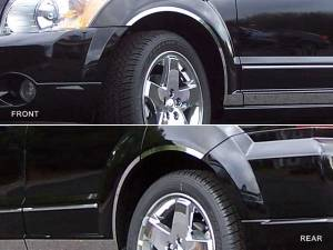 QAA - Dodge Caliber 2007-2012, 4-door, Hatchback (6 piece Stainless Steel Wheel Well Accent Trim With 3M adhesive installation and black rubber gasket edging.) WQ47950 QAA - Image 1