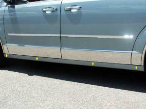 """QAA - Dodge Grand Caravan 2008-2020, 4-door, Minivan (8 piece Stainless Steel Rocker Panel Trim, Lower Kit 5.5"""" Width, cut back to flare Spans from the bottom of the door UP to the specified width.) TH48895 QAA - Image 1"""
