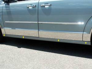"""QAA - Chrysler Town & Country 2008-2016, 4-door, Minivan, Eagle Coach (8 piece Stainless Steel Rocker Panel Trim, Lower Kit 5.5"""" Width, Full Length Spans from the bottom of the door UP to the specified width.) TH48896 QAA - Image 1"""