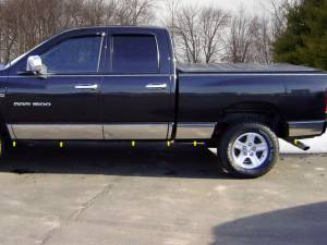 """QAA - Dodge Ram 2002-2008, 4-door, Pickup Truck, Quad Cab, Long Bed (12 piece Stainless Steel Rocker Panel Trim, Full Kit 10.5"""" Width Spans from the bottom of the molding to the bottom of the door.) TH42938 QAA"""