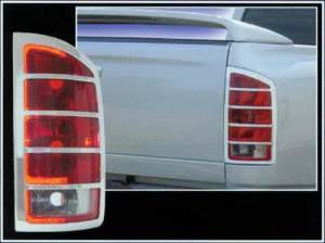 Chrome Trim - Tail Light Accents - QAA - Dodge Ram 2002-2008, Pickup Truck, Full Size (2 piece Chrome Plated ABS plastic Tail Light Bezels ) TL42935 QAA