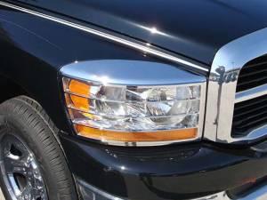 Chrome Trim - Headlight Accents - QAA - Dodge Ram 2006-2008, 2-door, 4-door, Pickup Truck (2 piece Chrome Plated ABS plastic Headlight Bezel, ABS/Chrome ) HLB46935 QAA