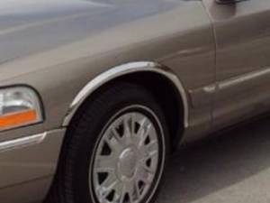 """Ford Crown Victoria 2003-2010, 4-door, Sedan (4 piece Molded Stainless Steel Wheel Well Fender Trim Molding 1.75"""" Width Clip on or screw in installation, Lock Tab and screws, hardware included.) WZ43483 QAA"""