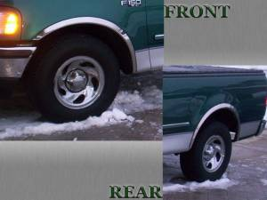 Ford Expedition 1997-2002, 4-door, SUV (4 piece Molded Stainless Steel Wheel Well Fender Trim Molding Clip on or screw in installation, Lock Tab and screws, hardware included.) WZ37383 QAA