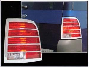 Chrome Trim - Tail Light Accents - QAA - Ford Explorer 2002-2005, 4-door, SUV (2 piece Chrome Plated ABS plastic Tail Light Bezels ) TL43305 QAA