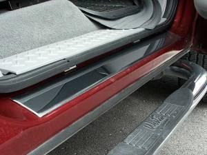 "Chrome Trim - Door Sill Trim - QAA - Ford F-150 2004-2008, 4-door, Pickup Truck, Super Cab (4 piece Stainless Steel Door Sill trim 2.25"" - 2.625"" tapered Width ) DS44302 QAA"