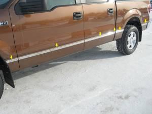 """QAA - Ford F-150 2004-2008, 4-door, Pickup Truck, Crew Cab, 6.5' Bed, w/ Flares (12 piece Stainless Steel Body Molding Insert Trim Kit 1.5"""" Width ) MI44306 QAA"""