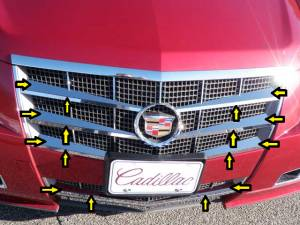 Chrome Trim - Grille Accents - QAA - Cadillac CTS 2008-2013, 4-door, Sedan (16 piece Stainless Steel Front Grille Accent Trim Upper and Lower Insert package ) SG48251 QAA