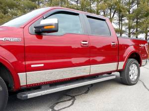 """QAA - Ford F-150 2004-2008, 4-door, Pickup Truck, Crew Cab, 6.5' bed, with Flares (12 piece Stainless Steel Rocker Panel Trim, Lower Kit 7.25"""" - 7.5"""" tapered Width Spans from the bottom of the door UP to the specified width.) TH44306 QAA"""