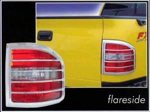Chrome Trim - Tail Light Accents - QAA - Ford F-150 2004-2008, 2-door, 4-door, Pickup Truck, Flareside (2 piece Chrome Plated ABS plastic Tail Light Bezels ) TL44309 QAA