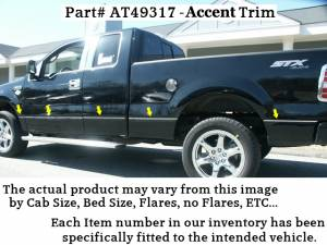 """QAA - Ford F-150 2009-2010, 4-door, Pickup Truck, Crew Cab, 55 bed, w/ Flares (12 piece Stainless Steel Body Side Molding Accent Trim 0.375"""" wide ) AT49317 QAA"""