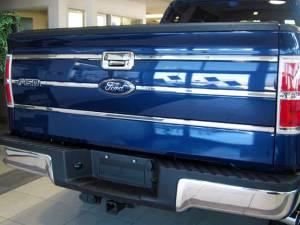 """Exterior Accessories - Tailgate Products - QAA - Ford F-150 2009-2014, 2-door, 4-door, Pickup Truck, King Ranch Model ONLY (6 piece Stainless Steel Tailgate Insert Trim 0.875"""" Width ) TGI49309 QAA"""