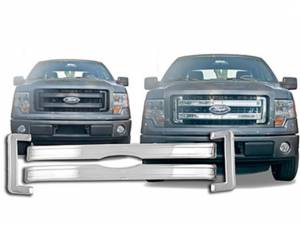 Chrome Trim - Grille Accents - QAA - Ford F-150 2013-2014, 2-door, 4-door, Pickup Truck, XL, STX, FX2 (4 piece Chrome Plated ABS plastic Grill Overlay Snap-On ) SGC53308 QAA