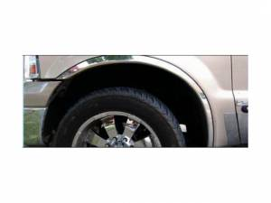 """Ford F-250 & F-350 Super Duty 1999-2007, 2-door, 4-door, Pickup Truck (4 piece Molded Stainless Steel Wheel Well Fender Trim Molding 2.125"""" Width Clip on or screw in installation, Lock Tab and screws, hardware included.) WZ39320 QAA"""