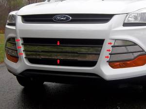 Chrome Trim - Grille Accents - QAA - Ford Escape 2013-2016, 4-door, SUV (8 piece Stainless Steel Front Grille Accent Trim Overlay Package, Full Set with Adhesive Promoter ) SG53360 QAA