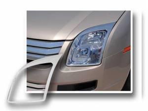 Chrome Trim - Headlight Accents - QAA - Ford Fusion 2007-2009, 4-door, Sedan (2 piece Chrome Plated ABS plastic Headlight Bezel, ABS/Chrome ) HLB47390 QAA
