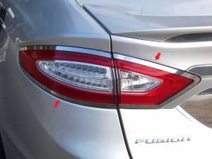 Chrome Trim - Tail Light Accents - QAA - Ford Fusion 2013-2016, 4-door, Sedan (4 piece Stainless Steel Tail Light Ring Accent Trim ) TR53390 QAA