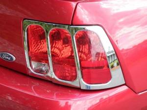 Chrome Trim - Tail Light Accents - QAA - Ford Mustang 1999-2004, 2-door, Coupe, Convertible (2 piece Chrome Plated ABS plastic Tail Light Bezels ) TL39351 QAA
