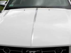 "Chrome Trim - Hood Accents/Trim - QAA - Ford Mustang 2005-2009, 2-door, Coupe, Convertible (1 piece Stainless Steel Hood Accent Trim 1"" - 1.5"" tapered Width ) HT45351 QAA"