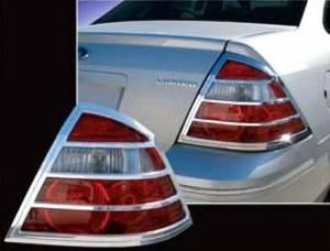 Chrome Trim - Tail Light Accents - QAA - Ford Taurus 2008-2009, 4-door, Sedan (2 piece Chrome Plated ABS plastic Tail Light Bezels ) TL45490 QAA