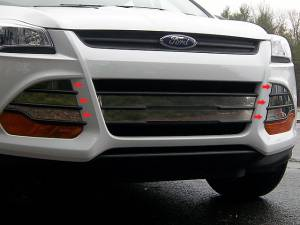 Chrome Trim - Grille Accents - QAA - Ford Escape 2013-2016, 4-door, SUV (6 piece Stainless Steel Front Grille Accent Trim Overlay Package, Vent Cover pieces with Adhesive Promoter ) SG53362 QAA