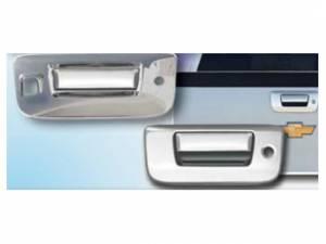Chrome Trim - Tailgate Handle Cover - QAA - GMC Sierra 2007-2013, 2-door, 4-door, Pickup Truck (2 piece Chrome Plated ABS plastic Tailgate Handle Cover Kit Includes camera access ) DH47184 QAA
