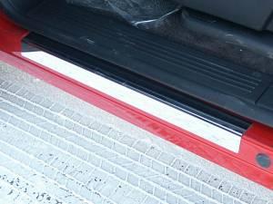 "Chrome Trim - Door Sill Trim - QAA - GMC Sierra 2007-2013, 4-door, Pickup Truck, Crew Cab (4 piece Stainless Steel Door Sill trim 3.5"" Width ) DS47184 QAA"