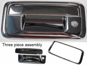 Chrome Trim - Tailgate Handle Cover - QAA - GMC Sierra 2014-2018, 2-door, 4-door, Pickup Truck (2 piece Chrome Plated ABS plastic Tailgate Handle Cover Kit Does NOT include camera access ) DH54183 QAA