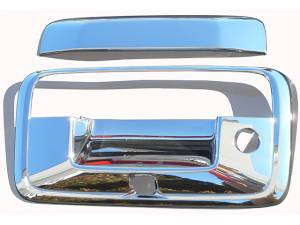 Chrome Trim - Tailgate Handle Cover - QAA - GMC Sierra 2014-2018, 2-door, 4-door, Pickup Truck (3 piece Chrome Plated ABS plastic Tailgate Handle Cover Kit Includes camera access ) DH54184 QAA