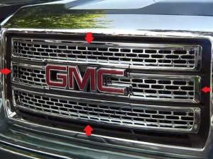Chrome Trim - Grille Accents - QAA - GMC Sierra 2014-2015, 2-door, 4-door, Pickup Truck (4 piece Chrome Plated ABS plastic Grill Overlay ) SGC54281 QAA