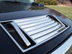 Chrome Trim - Hood Accents/Trim - QAA - Hummer H2 2003-2009, 4-door, SUV (10 piece Stainless Steel Hood Accent Package Hood Vent Cover, Lever and Handle ) HV43006 QAA