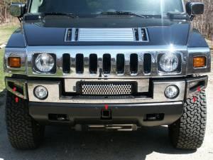 Chrome Trim - Bumper Accents - QAA - Hummer H2 2003-2009, 4-door, SUV (5 piece Stainless Steel Front Bumper Trim ) HV43007 QAA