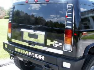 Chrome Trim - Tail Light Accents - QAA - Hummer H2 2003-2009, 4-door, SUV (14 piece Stainless Steel Tail Light Ring Package ) HV43016 QAA